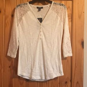 Chaps Cream and Lace Shirt